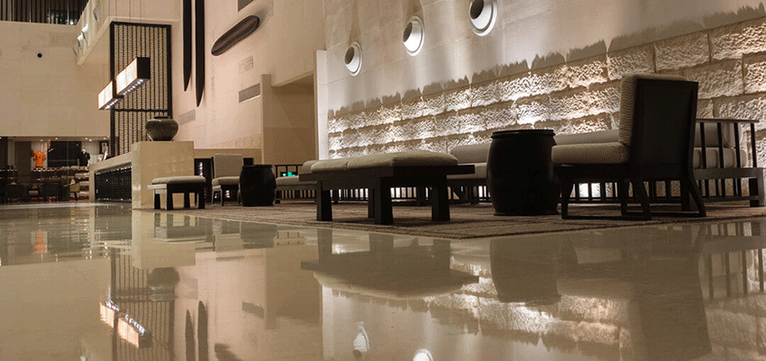 ez-clear flooring system is simple yet modern enough to supplement hotel floors