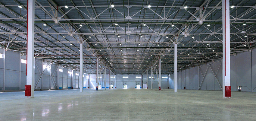 ez-clear flooring system looks great on floors of spacious warehouse