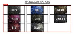 ez-shimmer palette of color options is showing product benefits