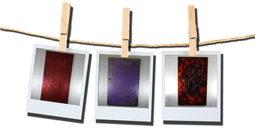 Polaroid showing three sample images of EZ-Create artwork