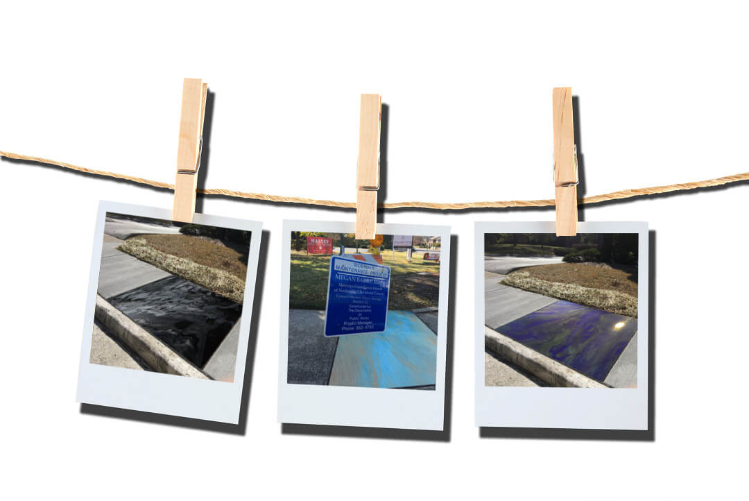 Polaroids of ez-outdoor coating samples