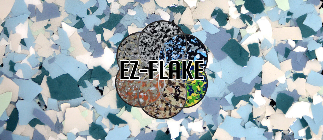 EZ-Flake liquid seamless flooring system logo and background sample image