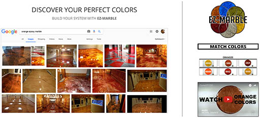 See inspiration board for limitless color variations of EZ-Marble
