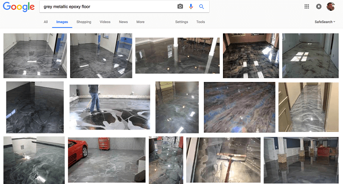 Google search: gray metallic epoxy floors