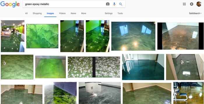 Google search: green metallic epoxy floors