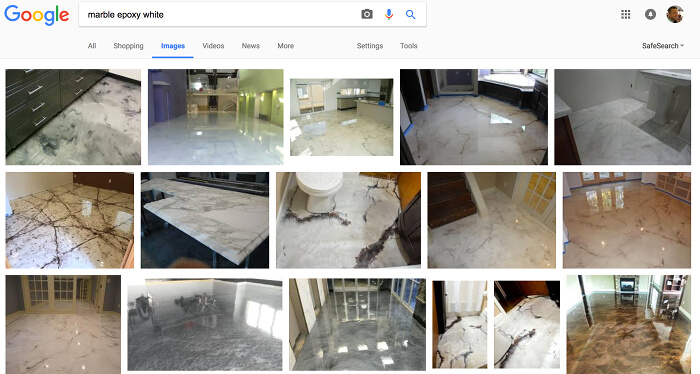 Google search: marble epoxy white floors