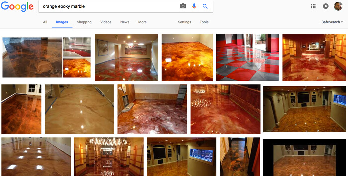 Google search: orange epoxy marble floors