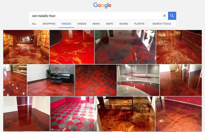 Google search: red metallic epoxy floors