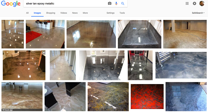Google search: silver tan metallic epoxy floors